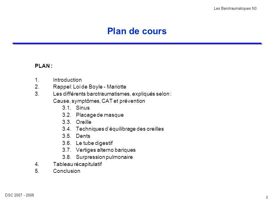 DSC 2007 - 2008 Les Barotraumatiques N3 2 Plan de cours PLAN : 1.Introduction 2.Rappel: Loi de Boyle - Mariotte 3.Les différents barotraumatismes, exp