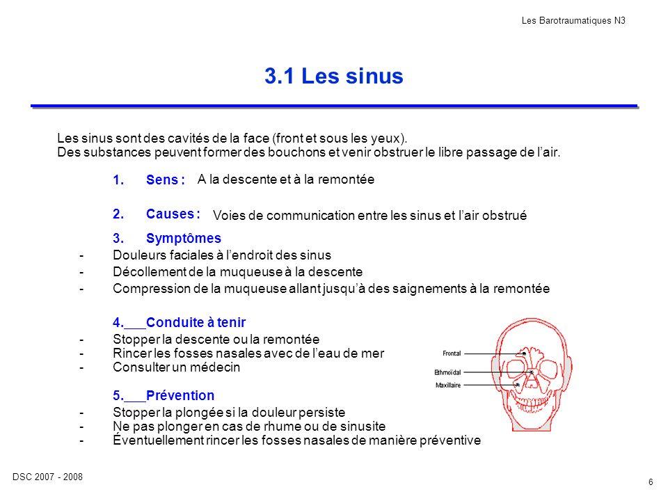 DSC 2007 - 2008 Les Barotraumatiques N3 6 3.1 Les sinus Les sinus sont des cavités de la face (front et sous les yeux). Des substances peuvent former