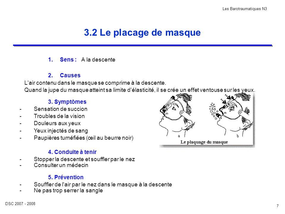 DSC 2007 - 2008 Les Barotraumatiques N3 7 3.2 Le placage de masque 1.Sens : 2.Causes A la descente L'air contenu dans le masque se comprime à la desce