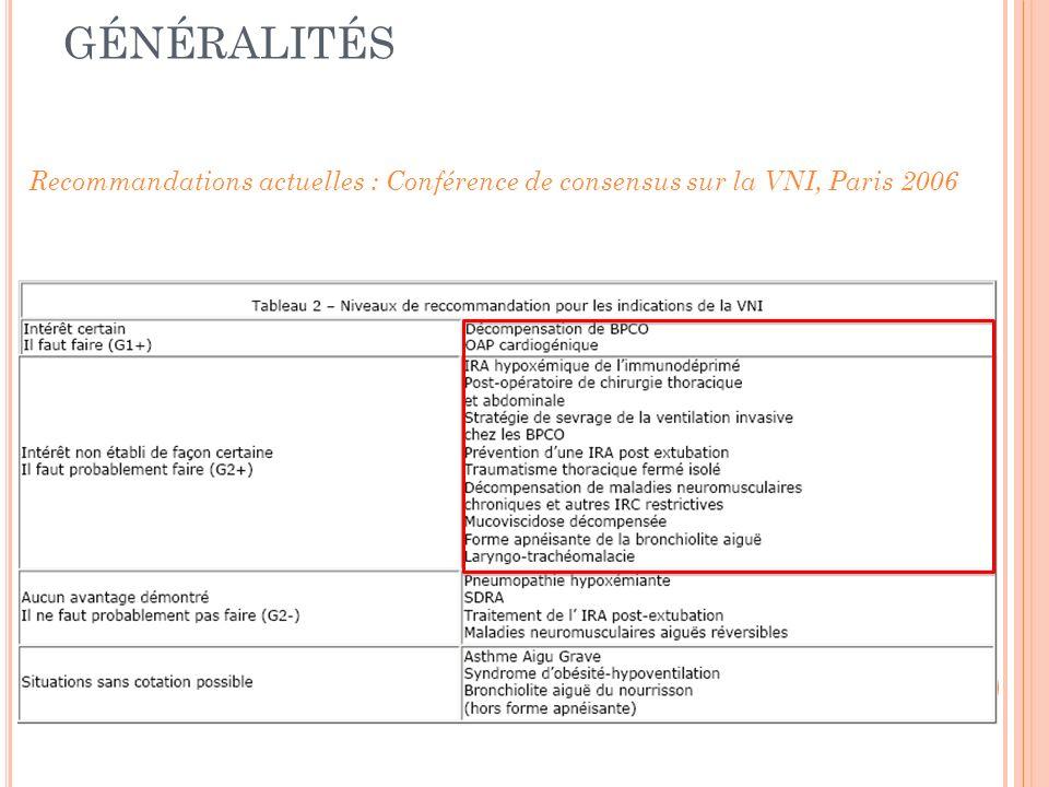 Recommandations actuelles : Conférence de consensus sur la VNI, Paris 2006 GÉNÉRALITÉS