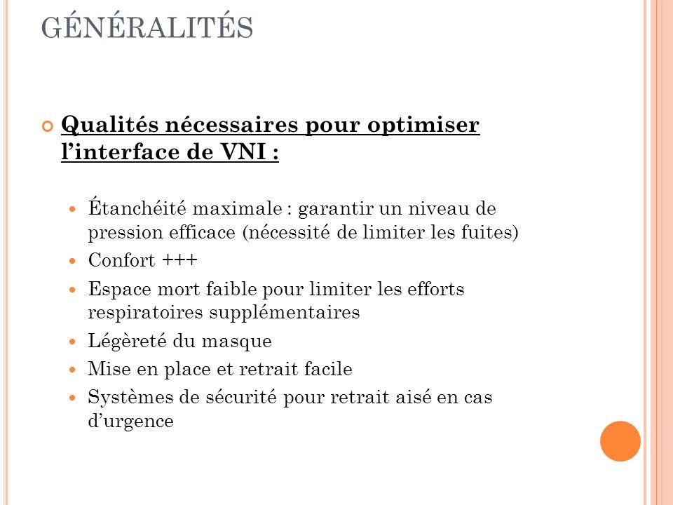 Qualités nécessaires pour optimiser linterface de VNI : Étanchéité maximale : garantir un niveau de pression efficace (nécessité de limiter les fuites