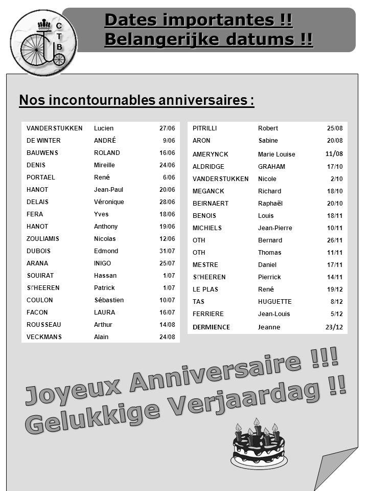 Dates importantes !! Belangerijke datums !! Nos incontournables anniversaires : VANDERSTUKKENLucien27/06 DE WINTER ANDR É 9/06 BAUWENSROLAND16/06 DENI