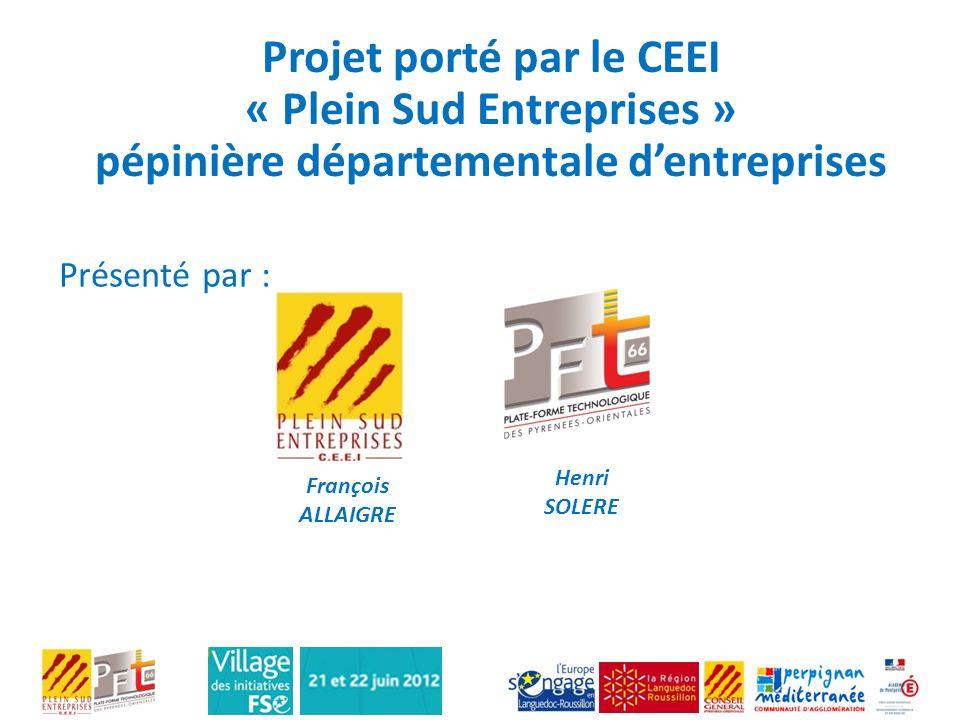 Projet porté par le CEEI « Plein Sud Entreprises » pépinière départementale dentreprises François ALLAIGRE Henri SOLERE Présenté par :