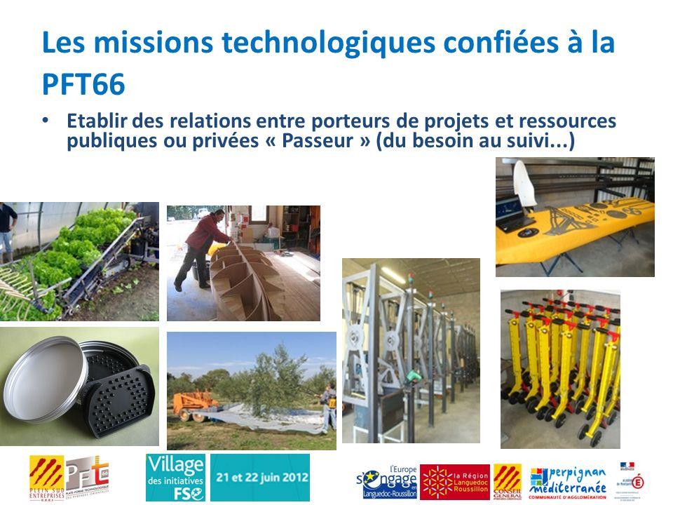 Les missions technologiques confiées à la PFT66 Etablir des relations entre porteurs de projets et ressources publiques ou privées « Passeur » (du bes