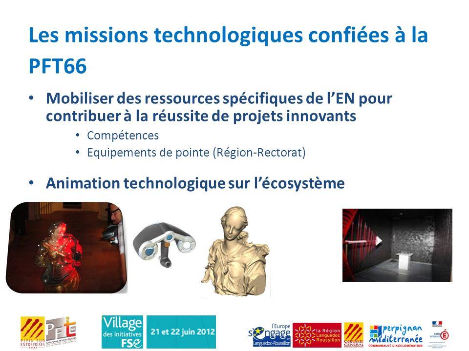 Les missions technologiques confiées à la PFT66 Mobiliser des ressources spécifiques de lEN pour contribuer à la réussite de projets innovants Compéte