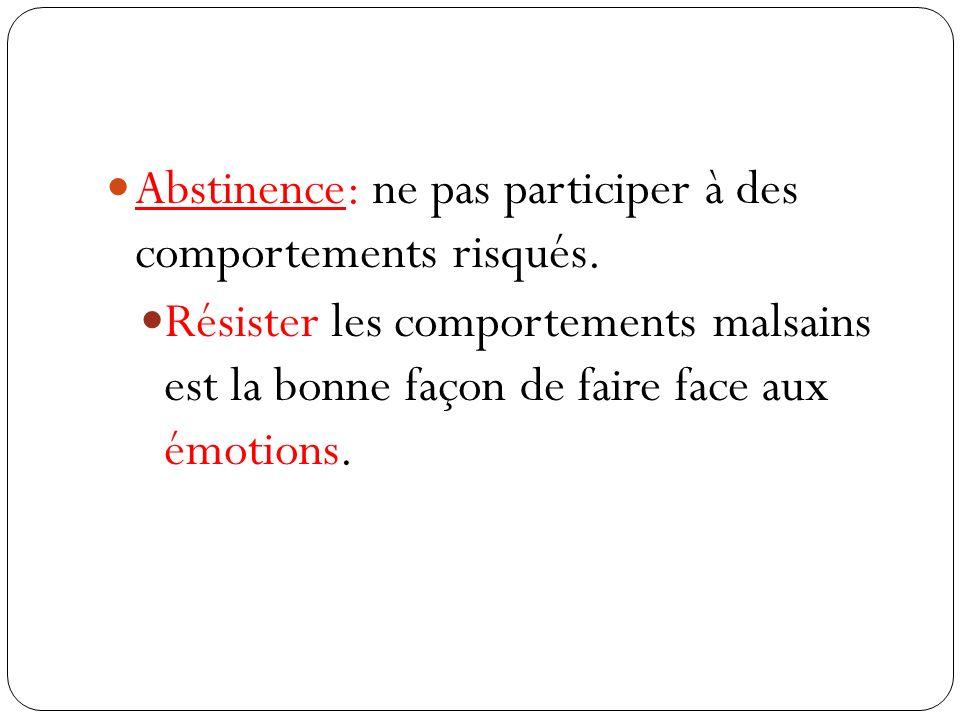Abstinence: ne pas participer à des comportements risqués. Résister les comportements malsains est la bonne façon de faire face aux émotions.