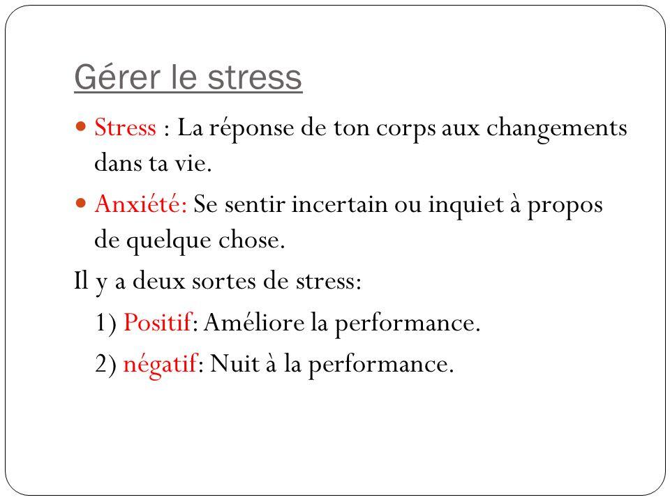 Gérer le stress Stress : La réponse de ton corps aux changements dans ta vie. Anxiété: Se sentir incertain ou inquiet à propos de quelque chose. Il y