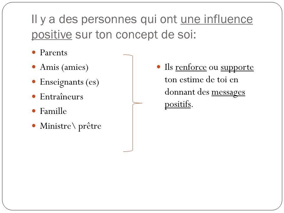 Il y a des personnes qui ont une influence positive sur ton concept de soi: Parents Amis (amies) Enseignants (es) Entraîneurs Famille Ministre\ prêtre