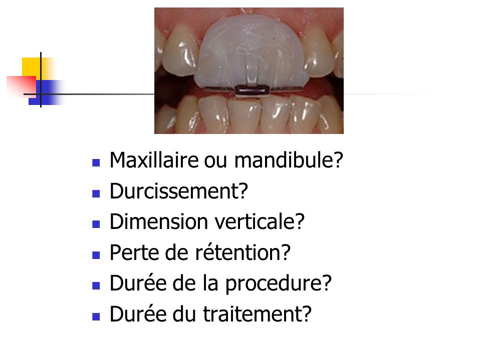 Maxillaire ou mandibule.Durcissement. Dimension verticale.