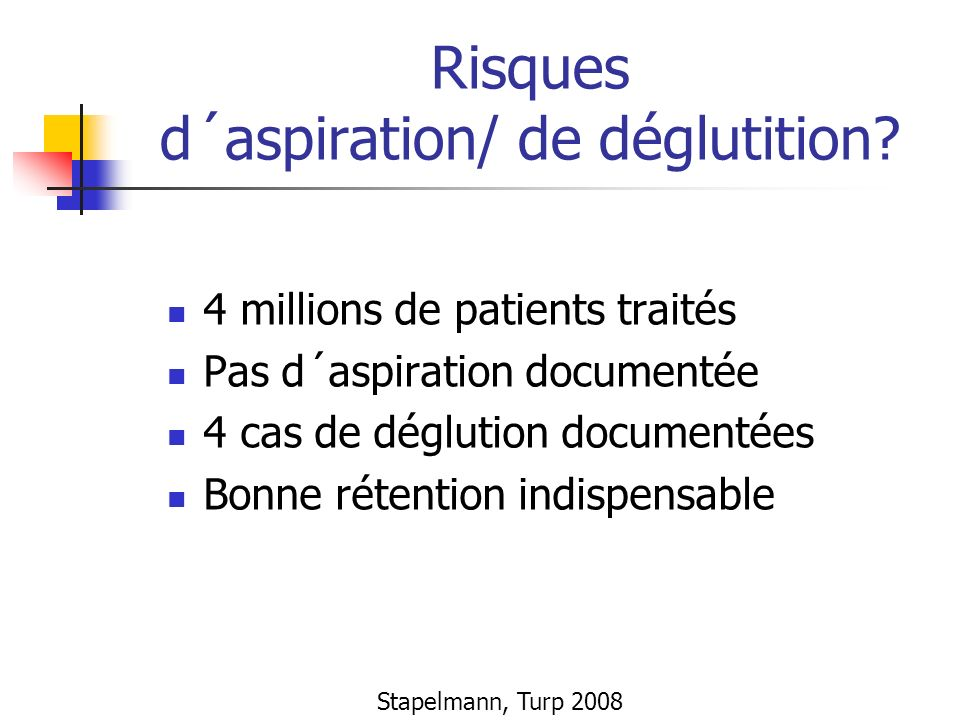 Risques d´aspiration/ de déglutition? 4 millions de patients traités Pas d´aspiration documentée 4 cas de déglution documentées Bonne rétention indisp