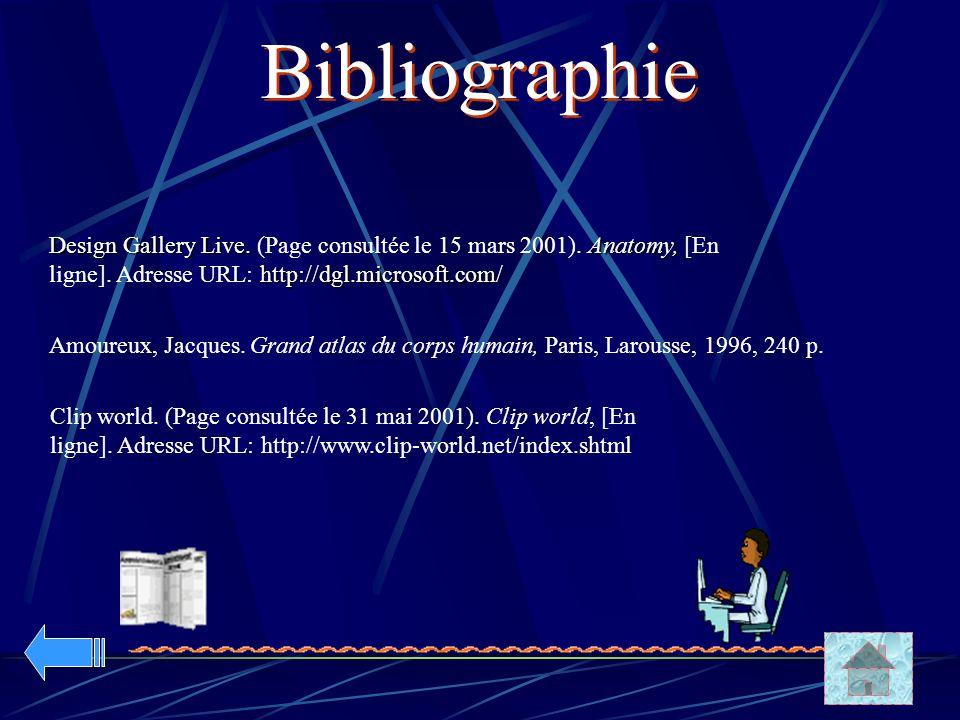 Design Gallery Live. Anatomy, http://dgl.microsoft.com/ Design Gallery Live. (Page consultée le 15 mars 2001). Anatomy, [En ligne]. Adresse URL: http: