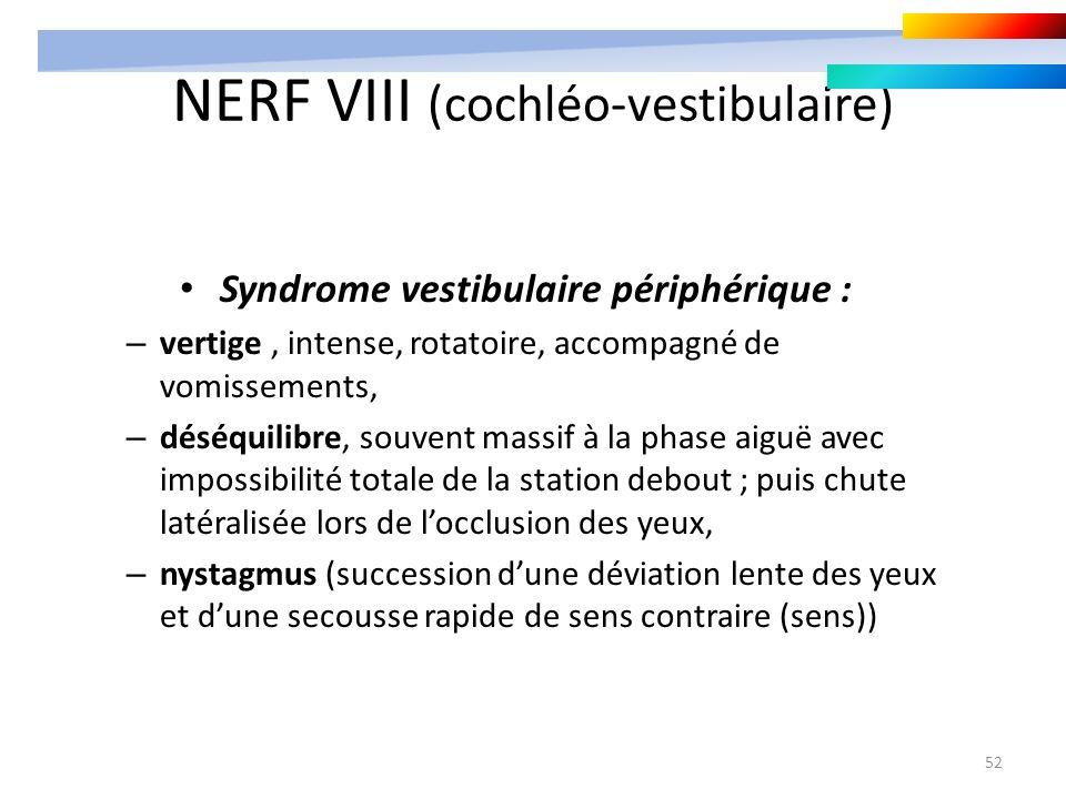 52 NERF VIII (cochléo-vestibulaire) Syndrome vestibulaire périphérique : – vertige, intense, rotatoire, accompagné de vomissements, – déséquilibre, so