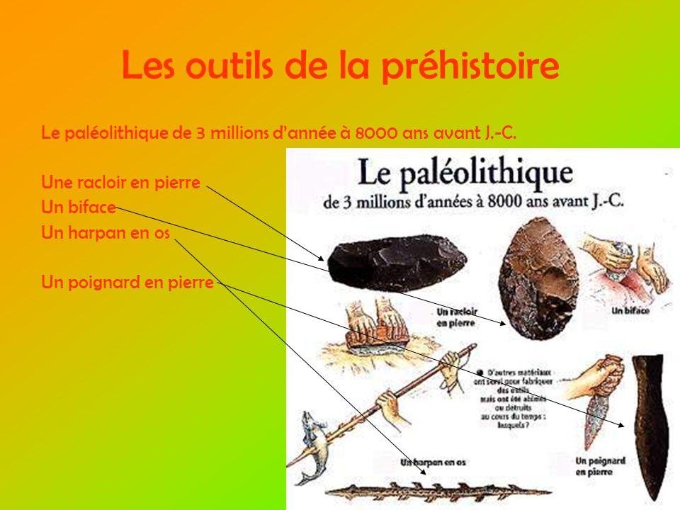 Les outils de la préhistoire Le paléolithique de 3 millions dannée à 8000 ans avant J.-C.