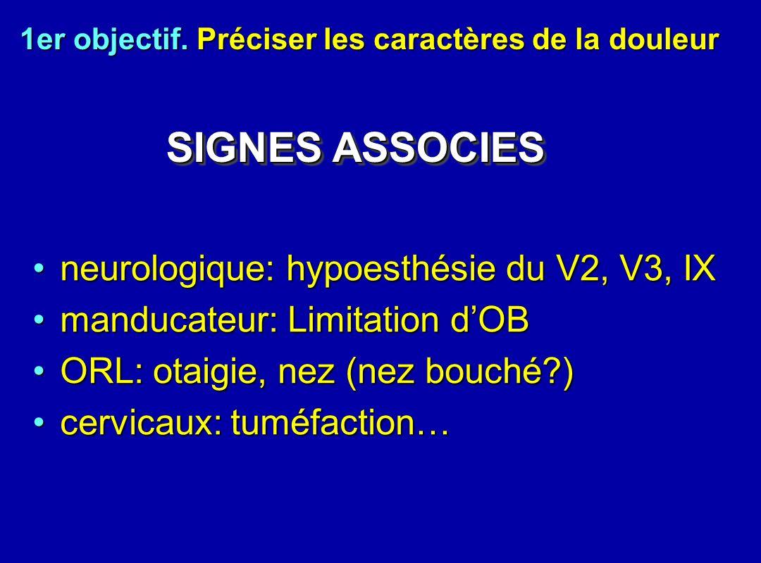 neurologique: hypoesthésie du V2, V3, IXneurologique: hypoesthésie du V2, V3, IX manducateur: Limitation dOBmanducateur: Limitation dOB ORL: otaigie,
