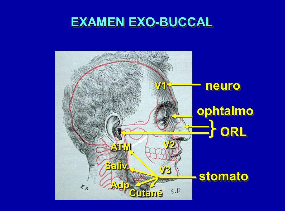 EXAMEN EXO-BUCCAL neuroneuro ORLORL V1V1 V2V2 V3V3 ophtalmoophtalmo stomatostomato Saliv.Saliv. AdpAdp CutanéCutané ATMATM