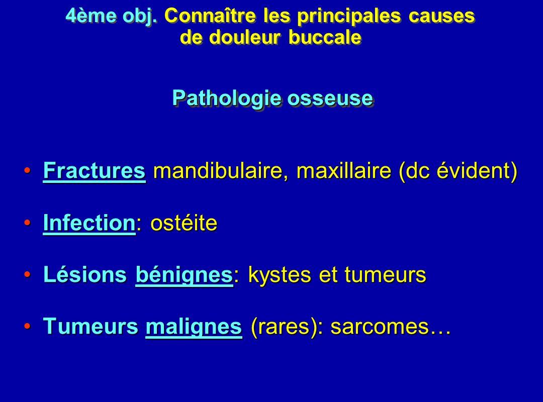 Fractures mandibulaire, maxillaire (dc évident)Fractures mandibulaire, maxillaire (dc évident) Infection: ostéiteInfection: ostéite Lésions bénignes: