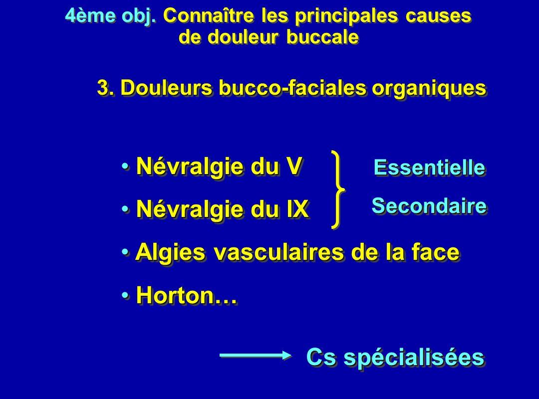 4ème obj. Connaître les principales causes de douleur buccale 4ème obj. Connaître les principales causes de douleur buccale 3. Douleurs bucco-faciales