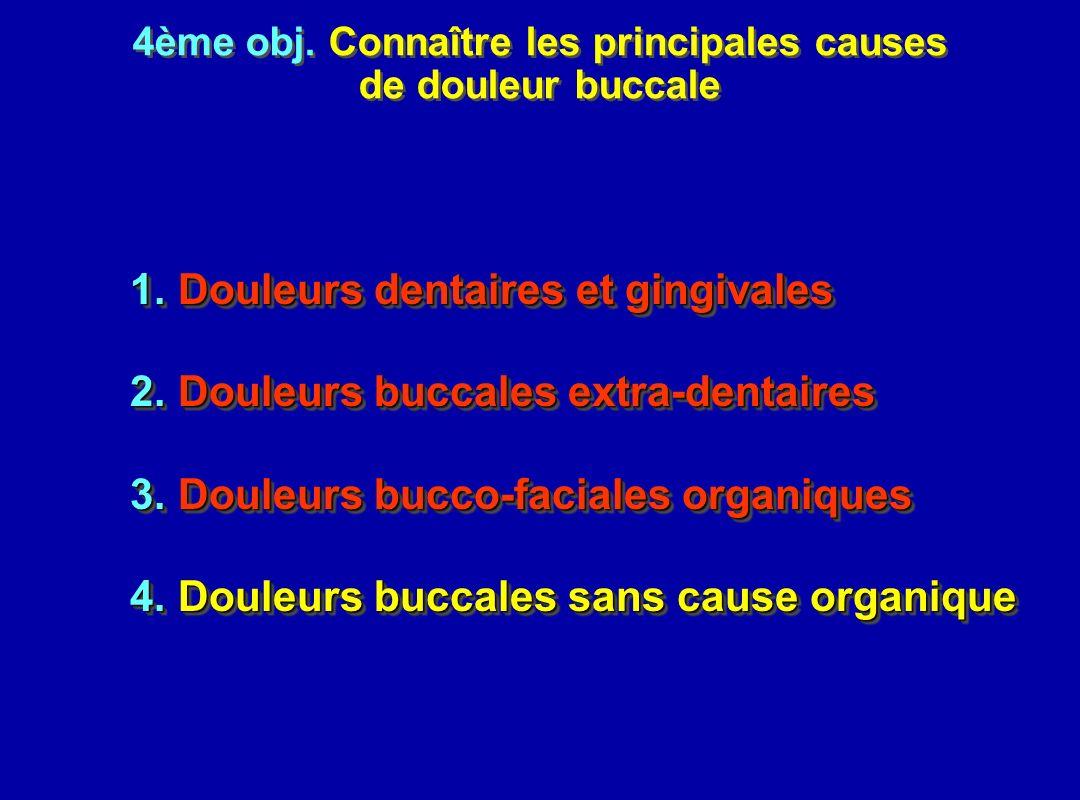 4ème obj. Connaître les principales causes de douleur buccale 4ème obj. Connaître les principales causes de douleur buccale 1.Douleurs dentaires et gi