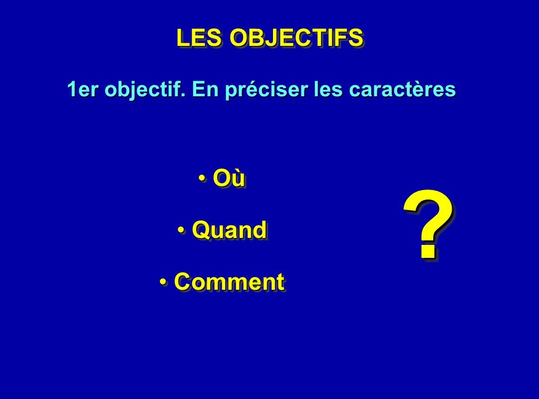 LES OBJECTIFS 1er objectif. En préciser les caractères Où Où Quand Quand Comment Comment Où Où Quand Quand Comment Comment ??