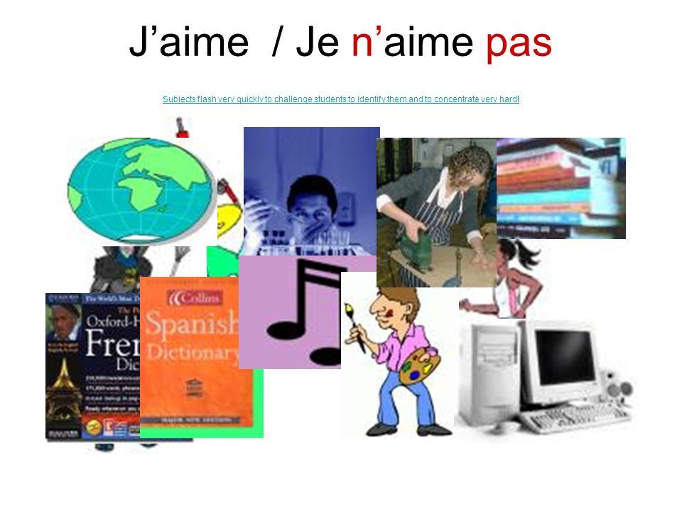 le Français les Maths lAnglais lHistoire la Géographie le Dessin la Musique lInformatique la Technologie les Sciences lEspagnol le Sport Je préfère… S