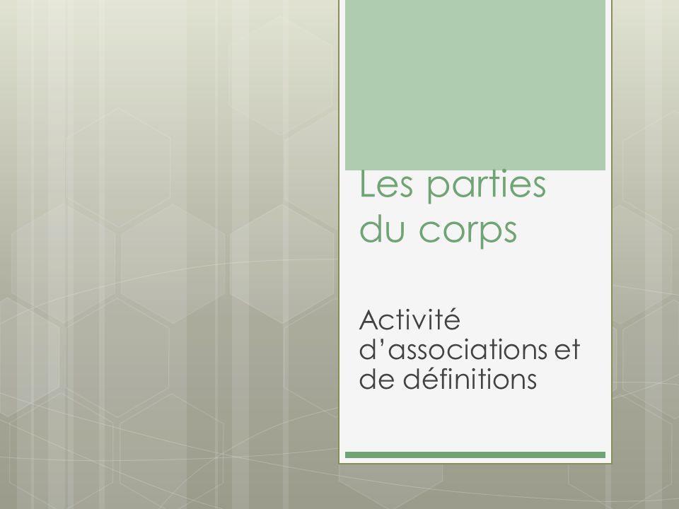 Les parties du corps Activité dassociations et de définitions