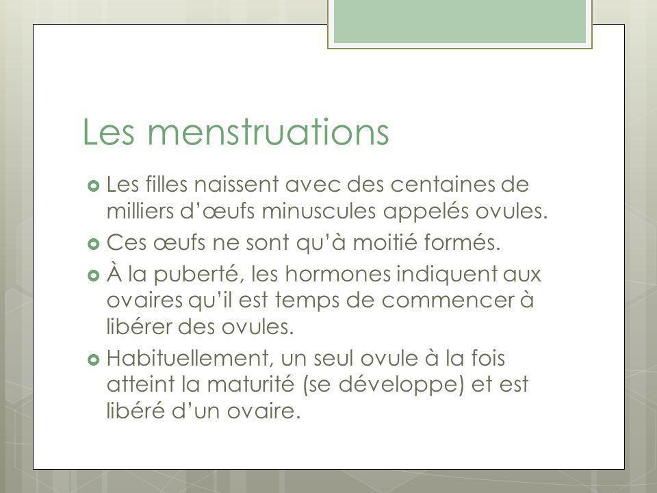 Les menstruations Les filles naissent avec des centaines de milliers dœufs minuscules appelés ovules.