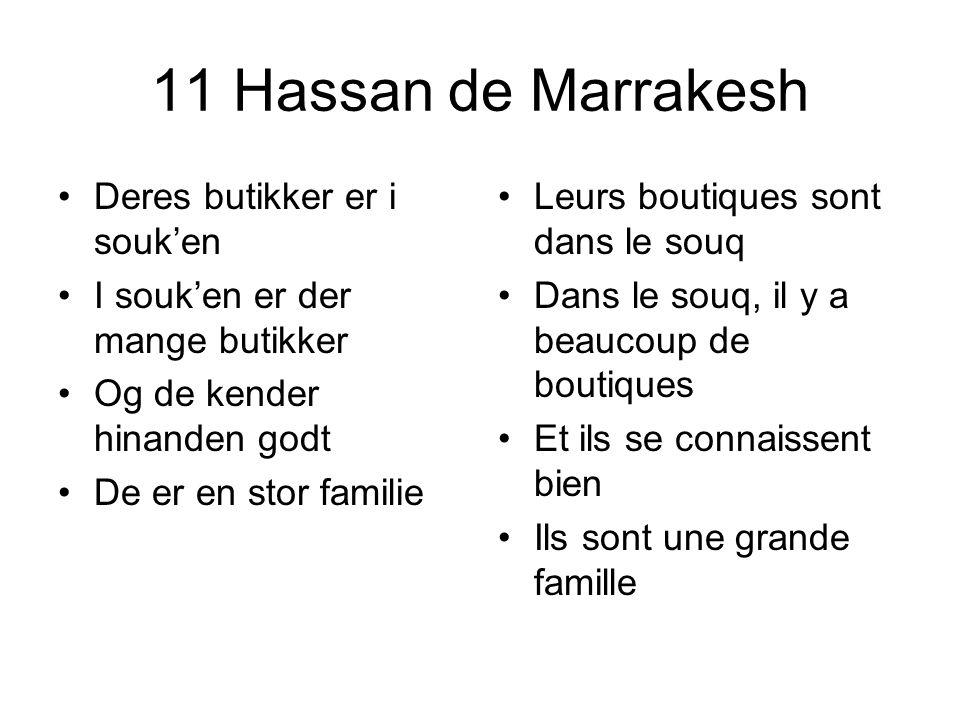 11 Hassan de Marrakesh Deres butikker er i souken I souken er der mange butikker Og de kender hinanden godt De er en stor familie Leurs boutiques sont