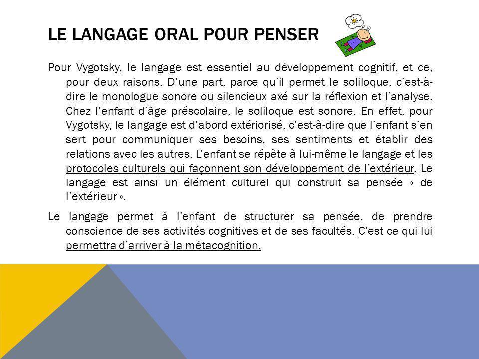 LE LANGAGE ORAL POUR PENSER Pour Vygotsky, le langage est essentiel au développement cognitif, et ce, pour deux raisons. Dune part, parce quil permet