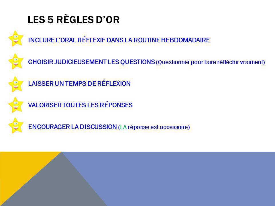 LES 5 RÈGLES DOR INCLURE LORAL RÉFLEXIF DANS LA ROUTINE HEBDOMADAIRE CHOISIR JUDICIEUSEMENT LES QUESTIONS (Questionner pour faire réfléchir vraiment)