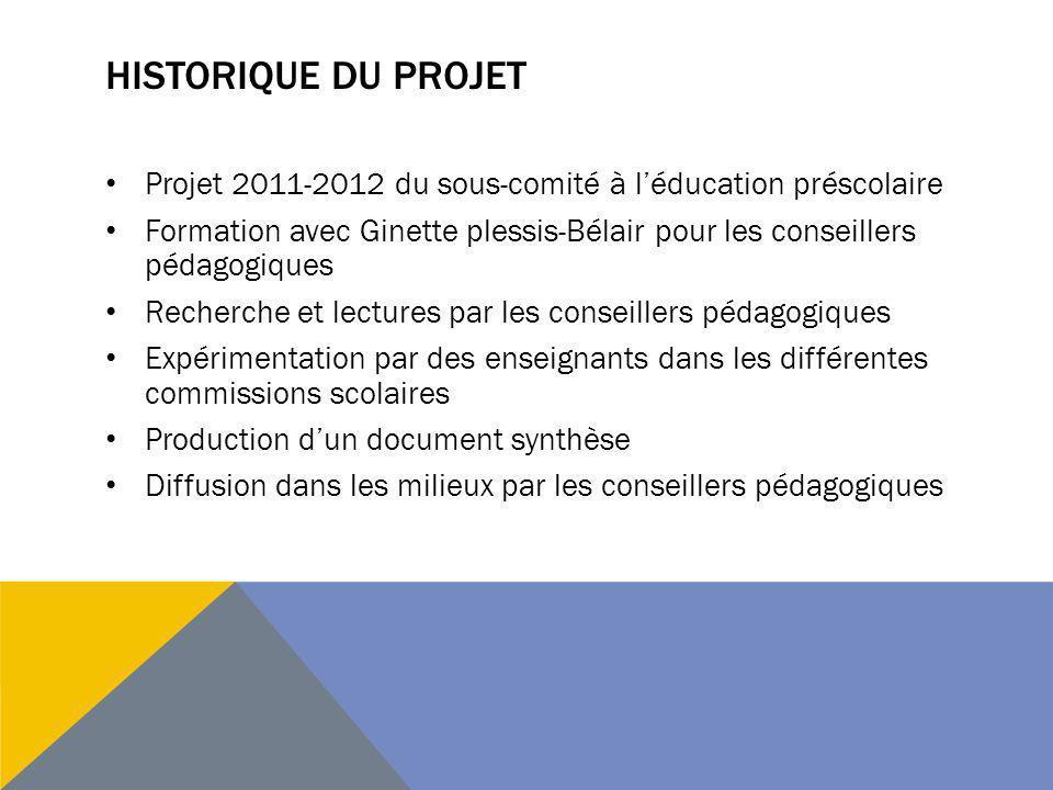 HISTORIQUE DU PROJET Projet 2011-2012 du sous-comité à léducation préscolaire Formation avec Ginette plessis-Bélair pour les conseillers pédagogiques