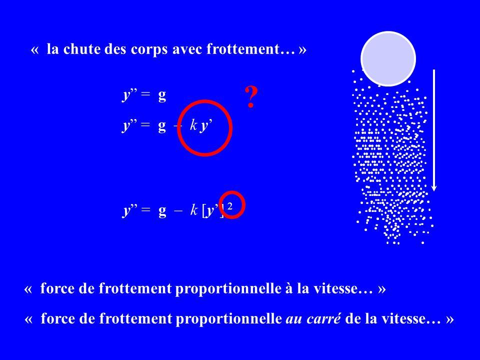 « la chute des corps avec frottement… » « force de frottement proportionnelle à la vitesse… » y = g y = g – k y y = g – k [y] 2 .