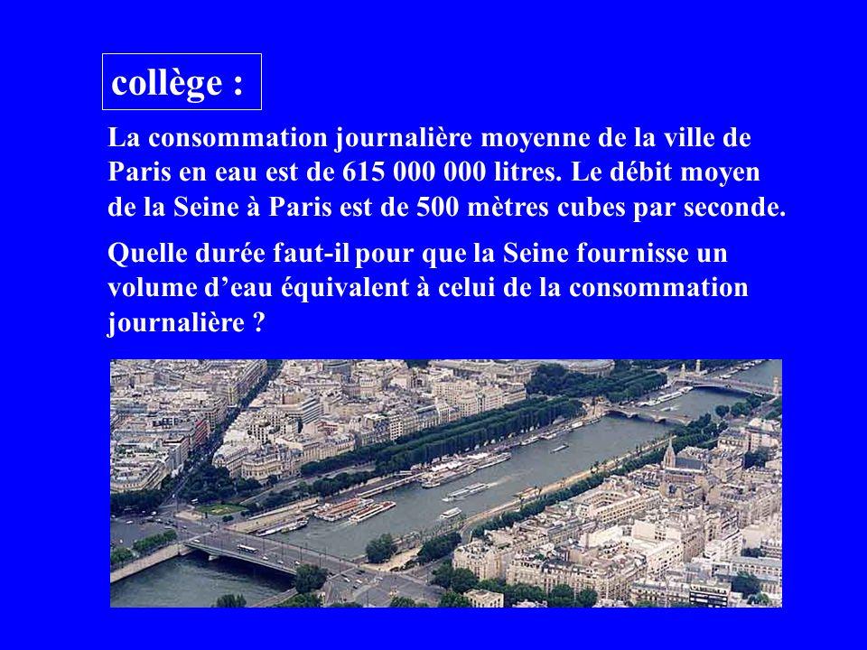 collège : La consommation journalière moyenne de la ville de Paris en eau est de 615 000 000 litres.
