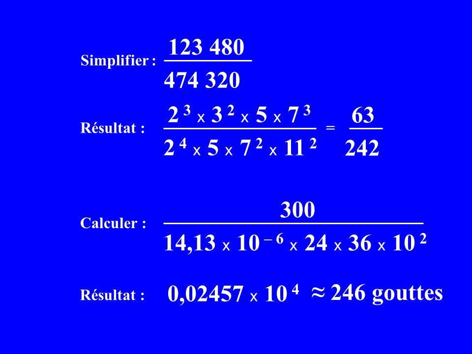 Simplifier : 123 480 474 320 Calculer : 300 14,13 x 10 – 6 x 24 x 36 x 10 2 Résultat : 0,02457 x 10 4 246 gouttes Résultat : = 2 3 x 3 2 x 5 x 7 3 2 4 x 5 x 7 2 x 11 2 63 242