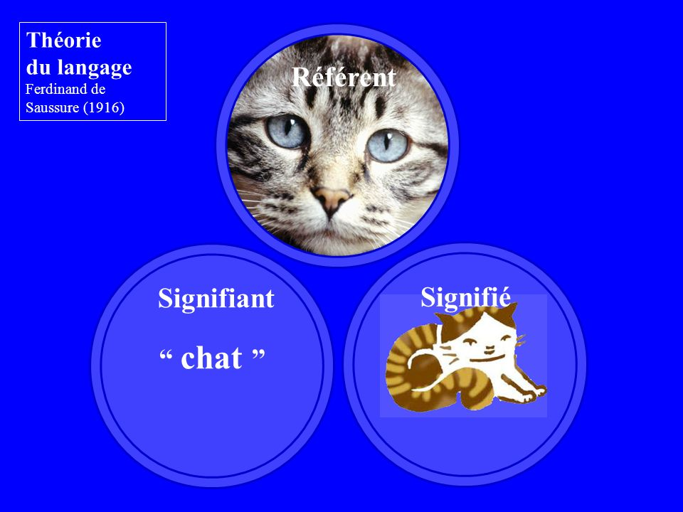 Signifiant Théorie du langage Ferdinand de Saussure (1916) Référent chat Signifié