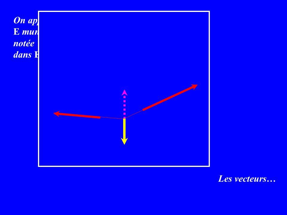 Les vecteurs… On appelle K-espace vectoriel un ensemble E muni dune loi de composition interne notée + et dune loi externe définie de K x E dans E telles que : a) u + ( v + w ) = ( u + v ) + w b) u + v = v + u c) u + 0 = 0 + u = u d) u + ( -u ) = ( -u ) + u = 0 e) 1.u = u f) a.( u + v ) = a.u + a.v g) (a + b).u = a.u + b.v h) (ab).u = a.(b.u)