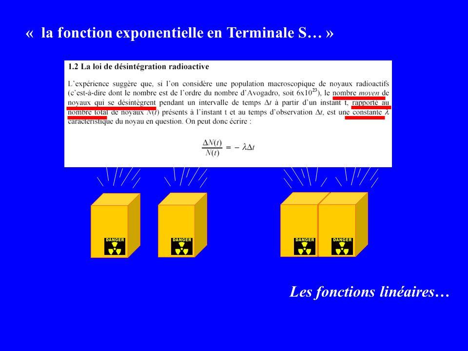 « la fonction exponentielle en Terminale S… » Les fonctions linéaires…