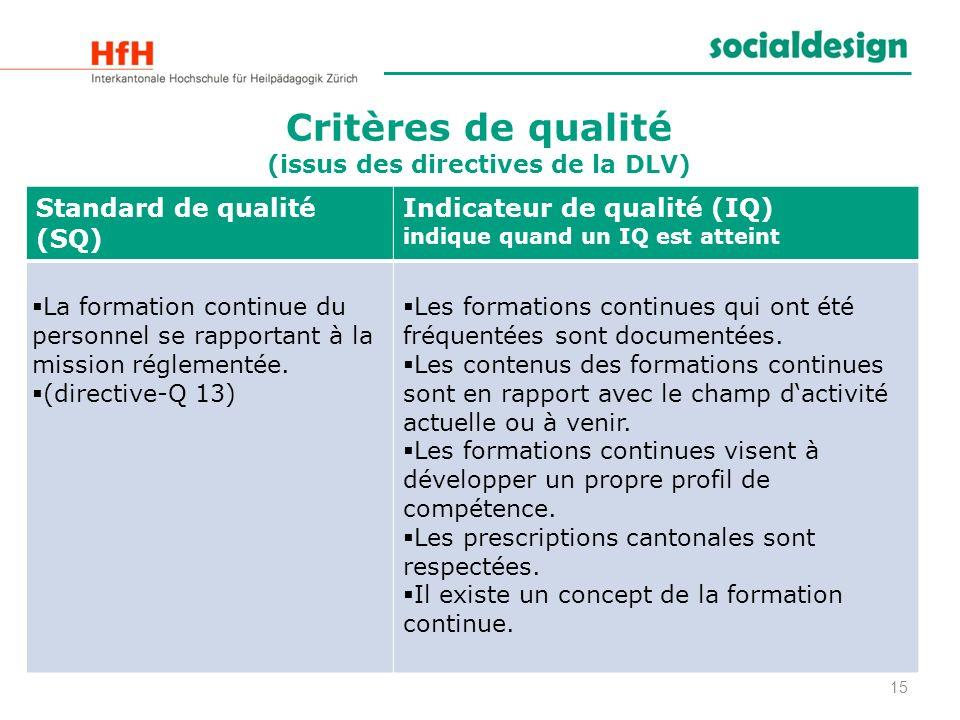 Critères de qualité (issus des directives de la DLV) 15 Standard de qualité (SQ) Indicateur de qualité (IQ) indique quand un IQ est atteint La formati