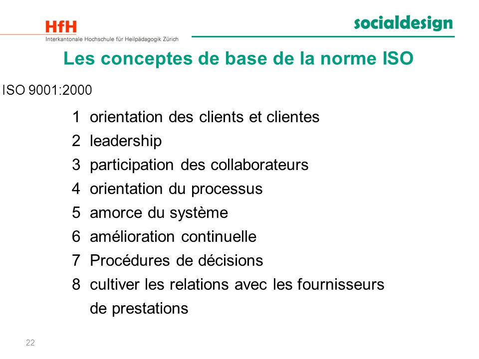 22 Les conceptes de base de la norme ISO 1orientation des clients et clientes 2leadership 3participation des collaborateurs 4orientation du processus
