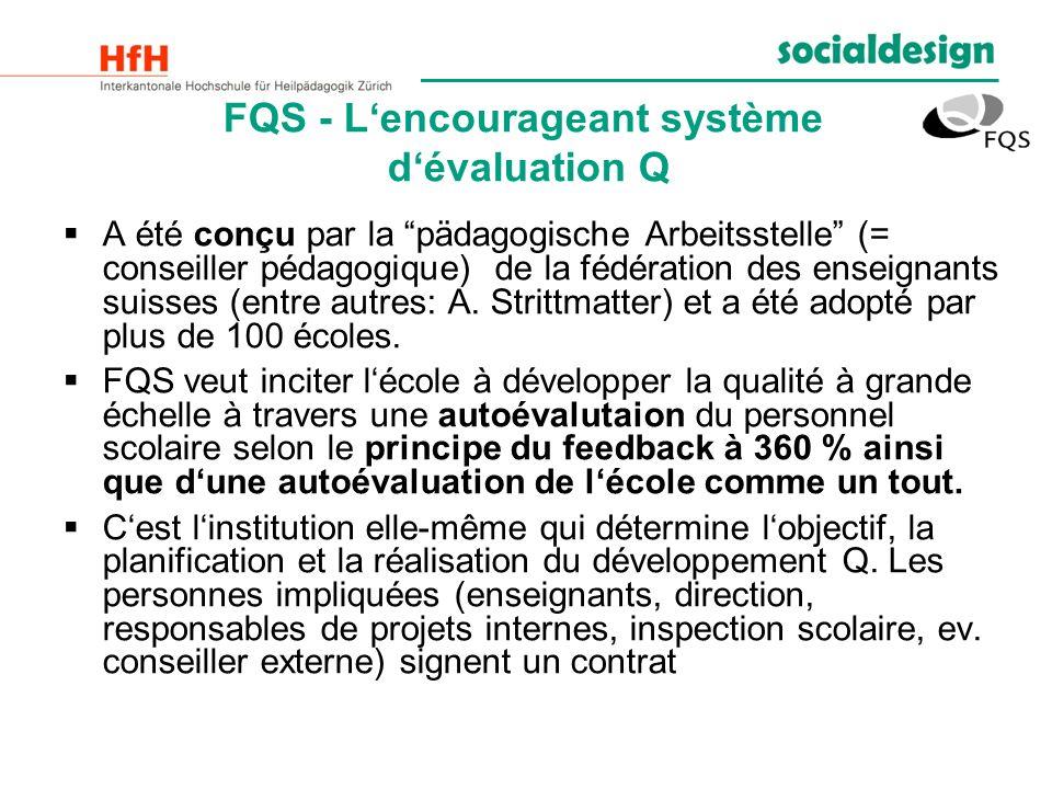 FQS - Lencourageant système dévaluation Q A été conçu par la pädagogische Arbeitsstelle (= conseiller pédagogique) de la fédération des enseignants su