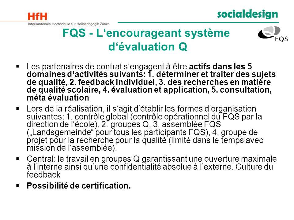 FQS - Lencourageant système dévaluation Q Les partenaires de contrat sengagent à être actifs dans les 5 domaines dactivités suivants: 1. déterminer et