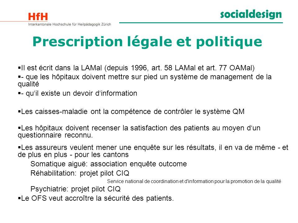 Il est écrit dans la LAMal (depuis 1996, art. 58 LAMal et art. 77 OAMal) - que les hôpitaux doivent mettre sur pied un système de management de la qua