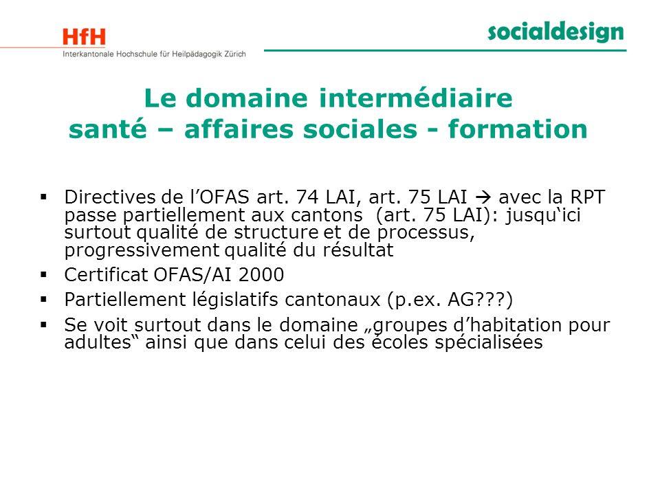 Le domaine intermédiaire santé – affaires sociales - formation Directives de lOFAS art. 74 LAI, art. 75 LAI avec la RPT passe partiellement aux canton
