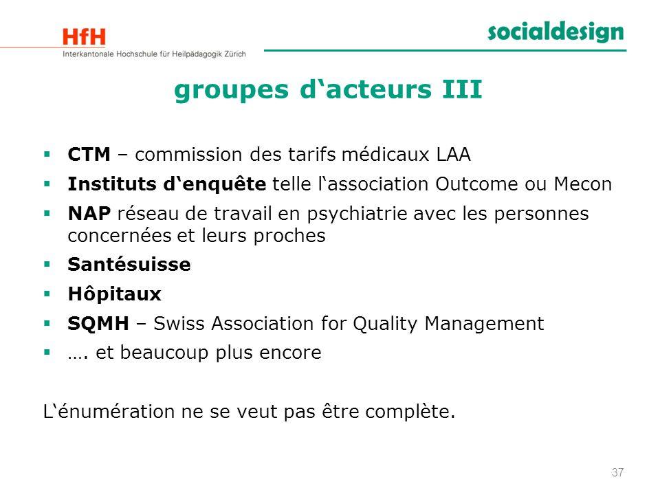 groupes dacteurs III CTM – commission des tarifs médicaux LAA Instituts denquête telle lassociation Outcome ou Mecon NAP réseau de travail en psychiat