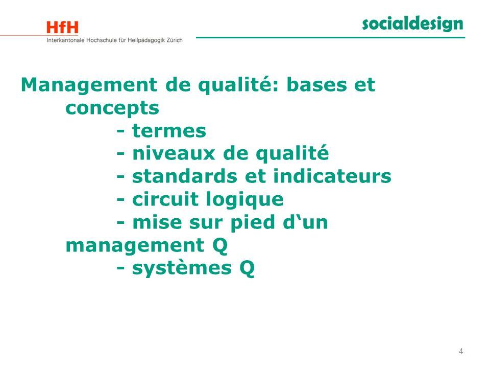 Management de qualité: bases et concepts - termes - niveaux de qualité - standards et indicateurs - circuit logique - mise sur pied dun management Q -