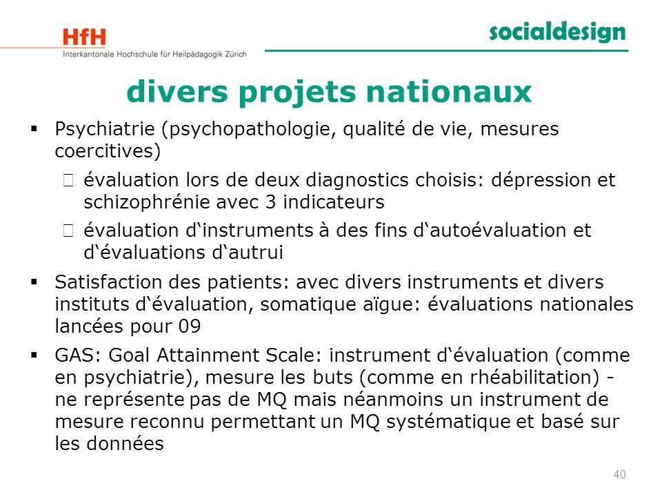 divers projets nationaux Psychiatrie (psychopathologie, qualité de vie, mesures coercitives) évaluation lors de deux diagnostics choisis: dépression e