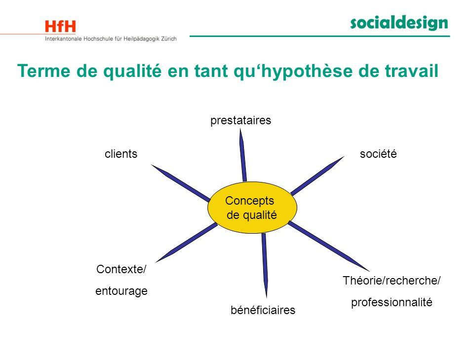 Terme de qualité en tant quhypothèse de travail Concepts de qualité clients prestataires société bénéficiaires Théorie/recherche/ professionnalité Con