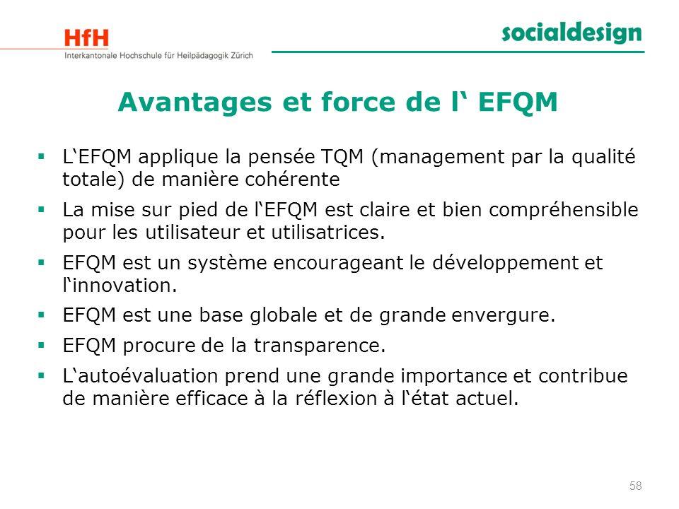 Avantages et force de l EFQM LEFQM applique la pensée TQM (management par la qualité totale) de manière cohérente La mise sur pied de lEFQM est claire