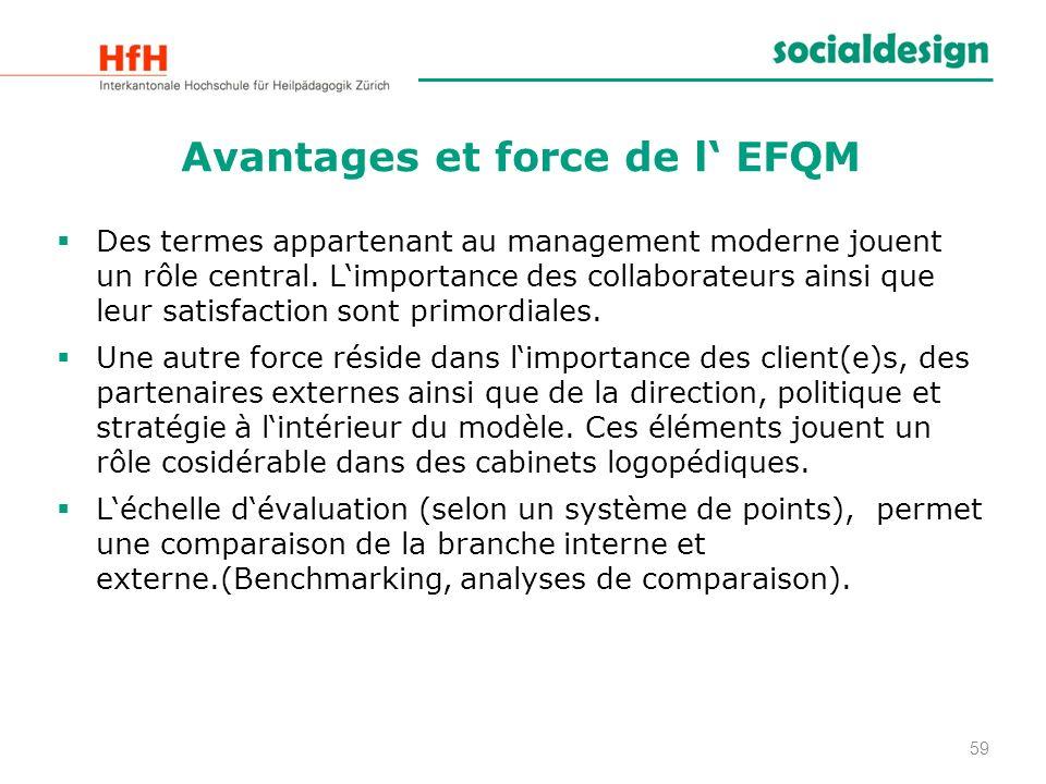 Avantages et force de l EFQM Des termes appartenant au management moderne jouent un rôle central. Limportance des collaborateurs ainsi que leur satisf