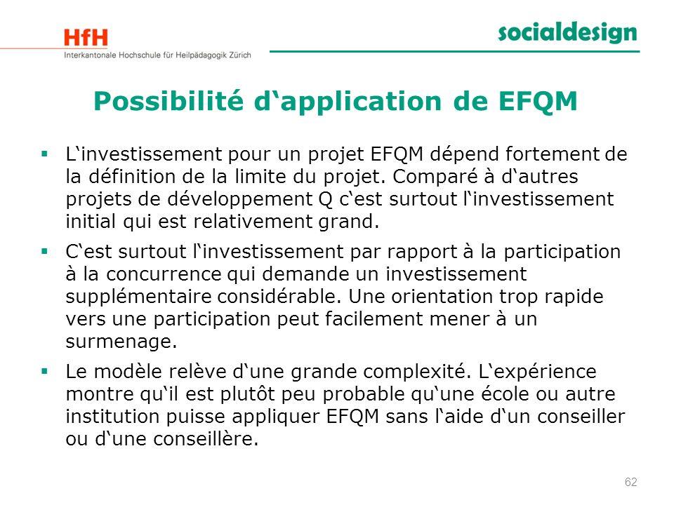Possibilité dapplication de EFQM Linvestissement pour un projet EFQM dépend fortement de la définition de la limite du projet. Comparé à dautres proje