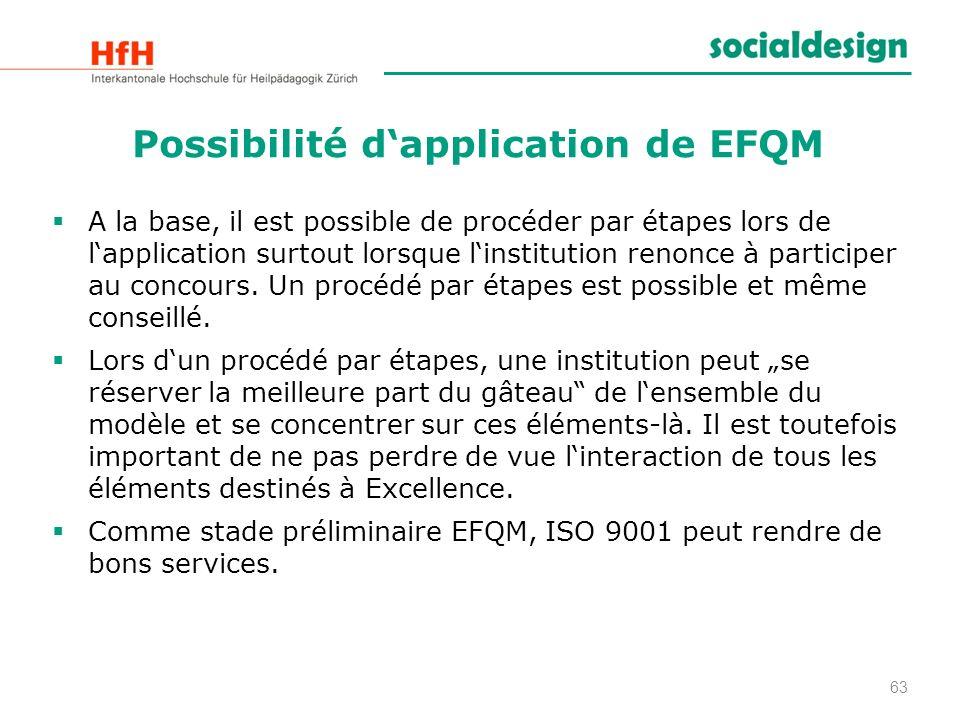 Possibilité dapplication de EFQM A la base, il est possible de procéder par étapes lors de lapplication surtout lorsque linstitution renonce à partici
